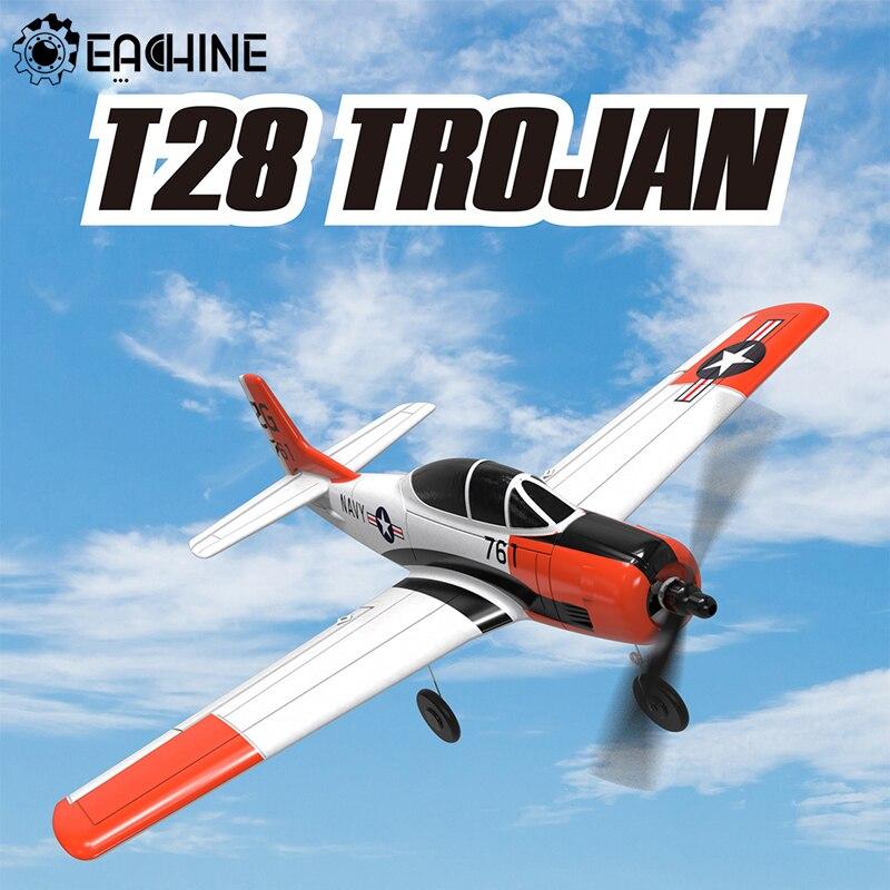 Eachine Mini T28 RC Airplane Trojan EPP 400mm Wingspan 2.4G 6-Axis Gyro Trainer Fixed Wing RTF One Key Return for Beginner